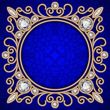 Vintage gold background, ornate jewelry frame over blue pattern stock vector