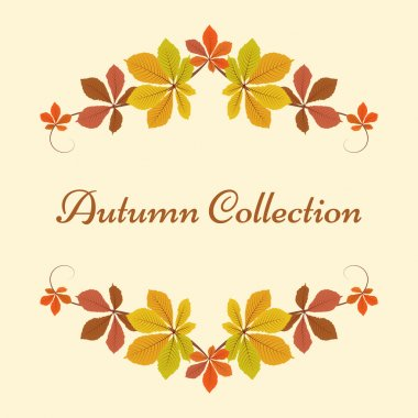 Autumn background, decor frame with yellow leaves