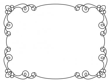 Calligraphic rectangle frame, simple frame ornament, decorative design element in retro style, certificate or invitation template on white stock vector