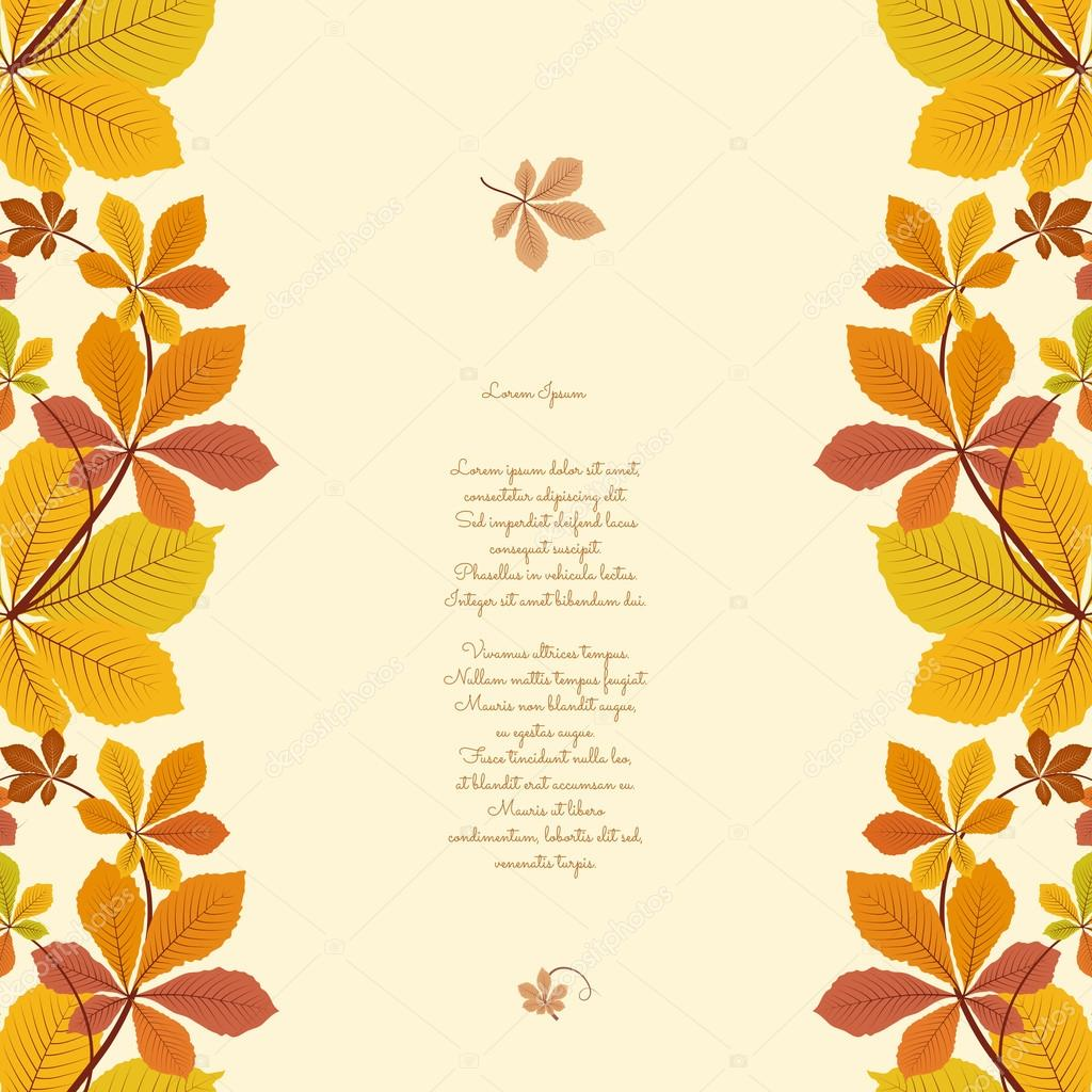 Autumn background with borders of yellow leaves