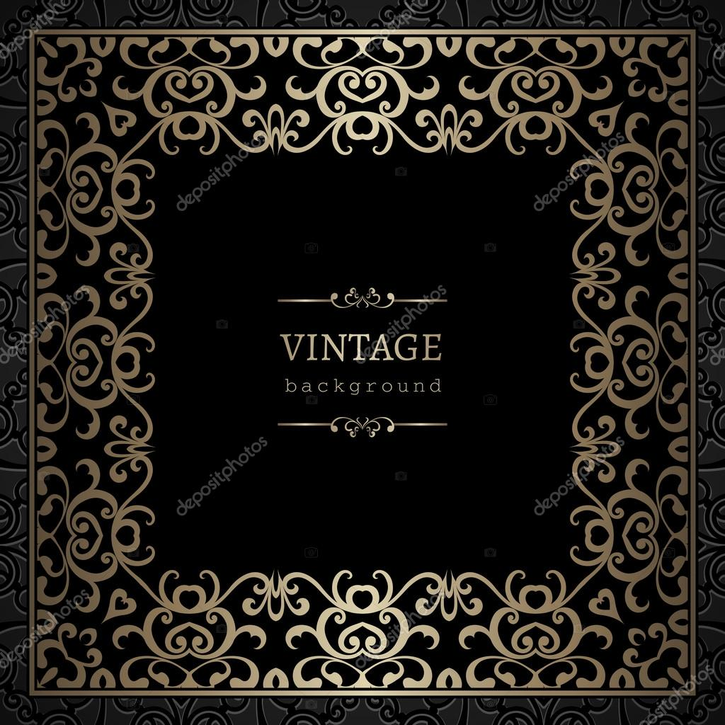 vintage gold square frame stock vector 87854676