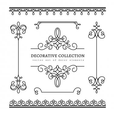 Set of vintage calligraphic vignettes and borders