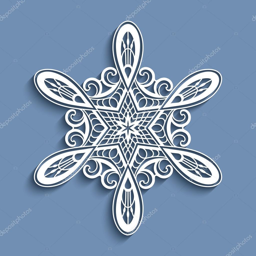 Ausschnitt Papier Spitze Schneeflocke Häkeln Verzierung