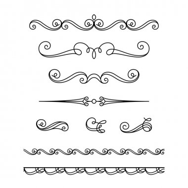 Set of vintage calligraphic vignettes, flourishes, decorative borders and divider elements in retro style, scroll embellishment on white stock vector