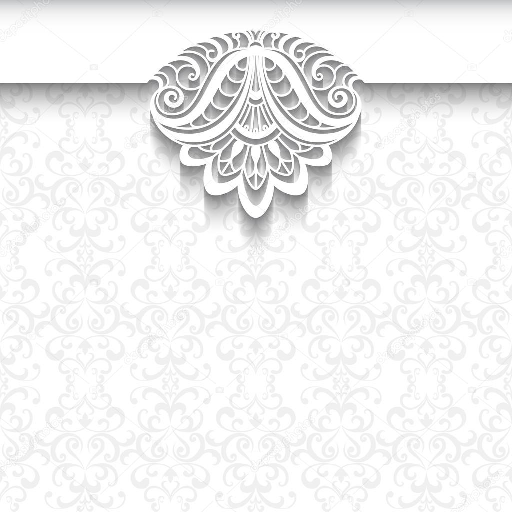 White Lace Background Wedding Invitation Template Stock