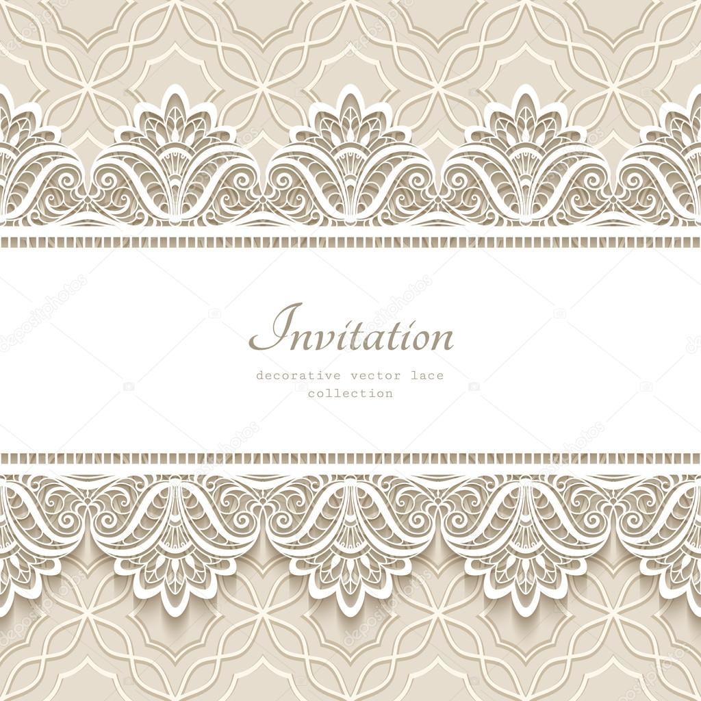 1d38a29e04 Vintage lace background with seamless borders — Stock Vector ...