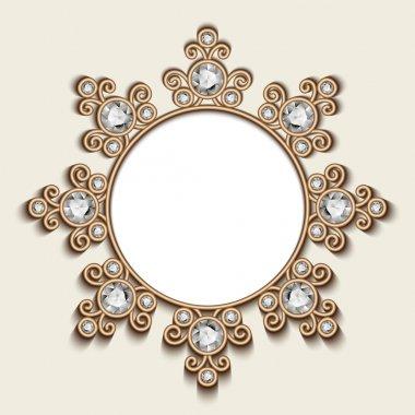 Gold jewelry circle frame