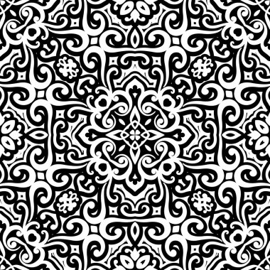 Black and white curly ornament, seamless pattern