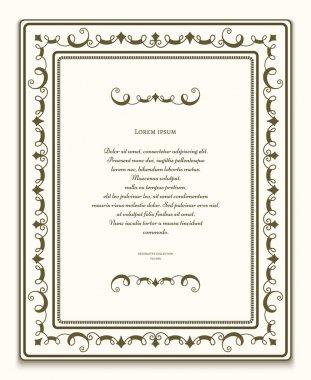 Rectangle ornamental frame, certificate template