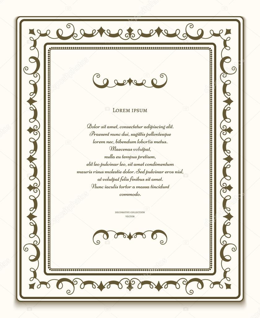 Rechteck ornamentale Rahmen, Zertifikatvorlage — Stockvektor ...