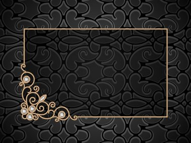 Vintage gold background, rectangle gold frame with swirly corner ornament stock vector