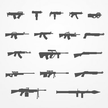 Guns and weapons set