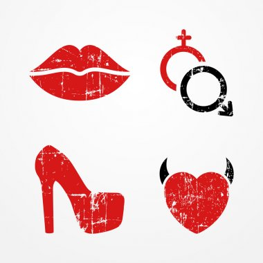 Woman and passion symbols