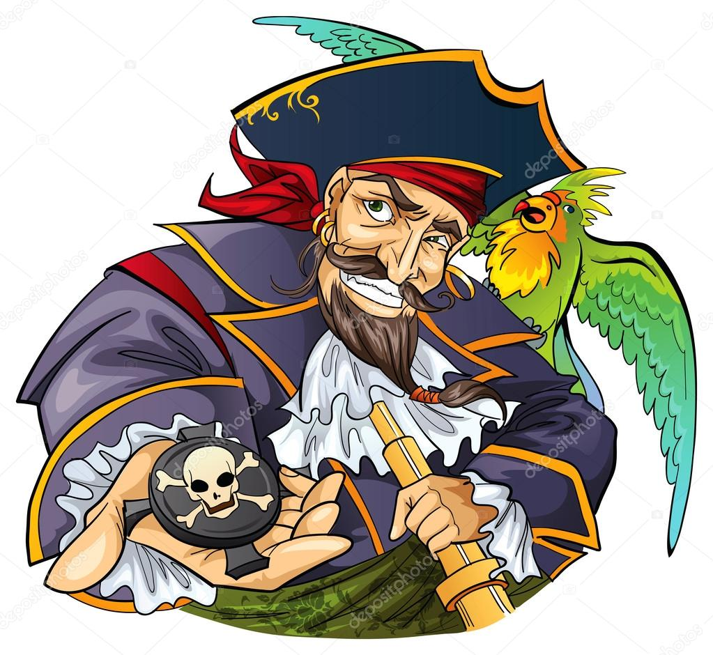 pirate dessin anim avec perroquet illustration
