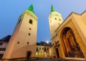 Fotografie Cathedral of Trinity in Zilina, in the evening.