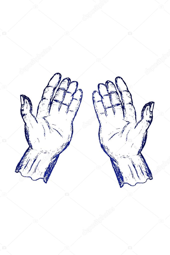 Doodle Praying Position Hand Stock Photo C Stioss 53571155