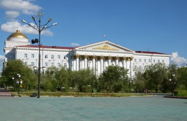 Chita, RU - Jul17 2014: Facade of Trans-Baikal Railway Management building on Lenin Square in the city of Chita. Russia