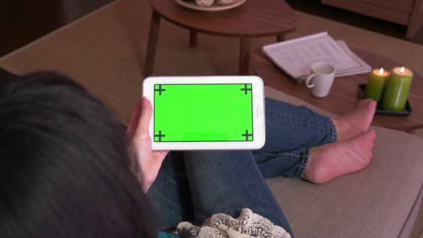 IPAD Tablet zelené obrazovky monitoru počítače Pc elektroniky žena lidí