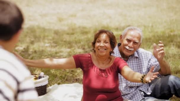9starý děda babička dělá piknik s vnukem Slowmotion