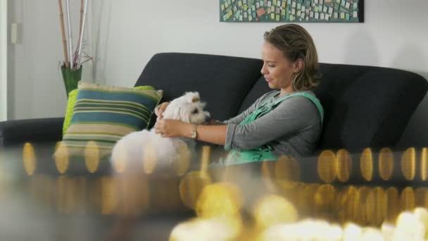 13-Woman Dog Owner Putting Flea Collar To Pet