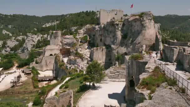 Zámek francouzský památník v Les Baux De Provence Francie