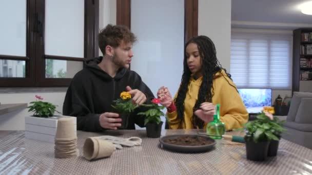 Černoška a běloch se usmívají, zatímco doma zahradničí. Domácí život pro mezirasové páry dělá volnočasové aktivity s rostlinami a květiny pro hobby. Šťastní lidé se smějí