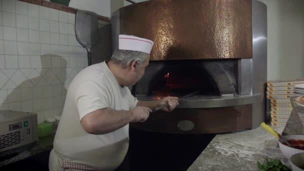 Portrait Man At Work Cook Pizza Restaurant Kitchen Food Italy