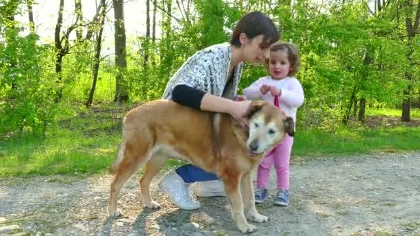 Rodinný život s Happy matka a dítě chůzi psa venkovní
