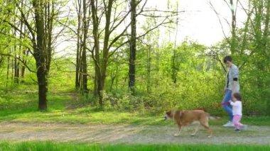 Madre e figlia prendere cane passeggiata video stock for Piani di fienile domestico