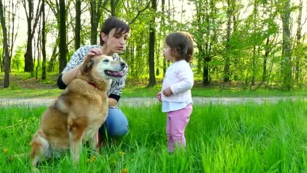 Woman Mother Mom Baby Girl Child Children Walking Pet Dog