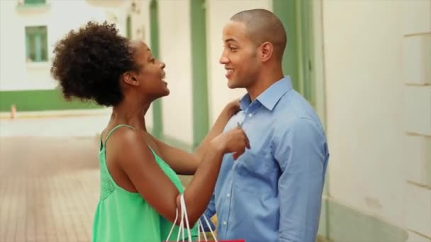 Black man and woman after shopping