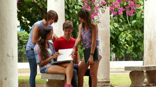 6 College Students Young People Friends Talking Studying At School