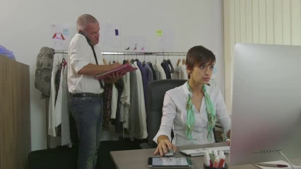 Career Success Teamwork Man And Woman In Fashion Clothes Office