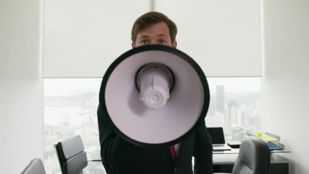 12 fehér gallér Hivatal munkás beszélő-val Megaphone-on fényképezőgép