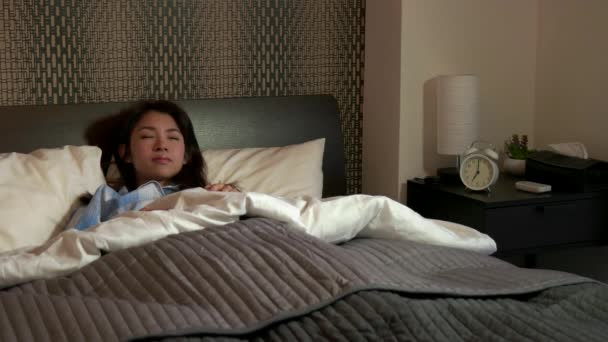 Morning Routine Young Asian Woman Waking Up Snoozing Alarm Clock