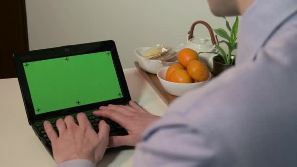 Technology Pc Computer Green Screen Monitor Businessman Typing On Keyboard