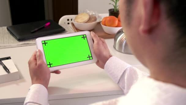 Internetu zelená obrazovka monitoru Business Man podnikatel Ipad Tablet technologie
