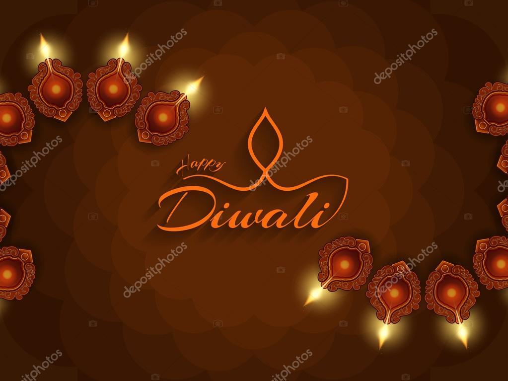 Religious background design for Indian festival Diwali.
