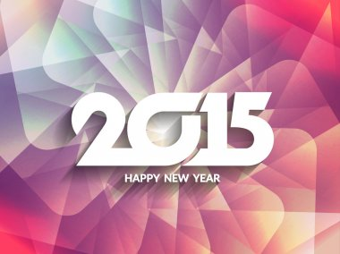 Colorful happy new year 2015 greeting card design