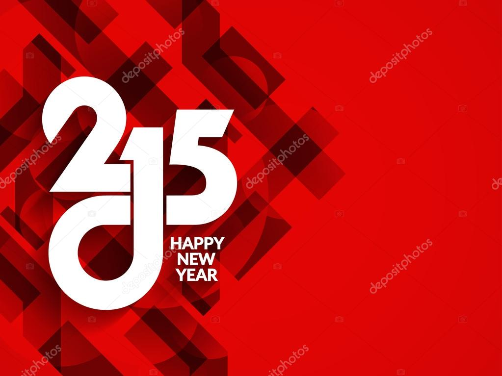 Red color happy new year 2015 modern background design.