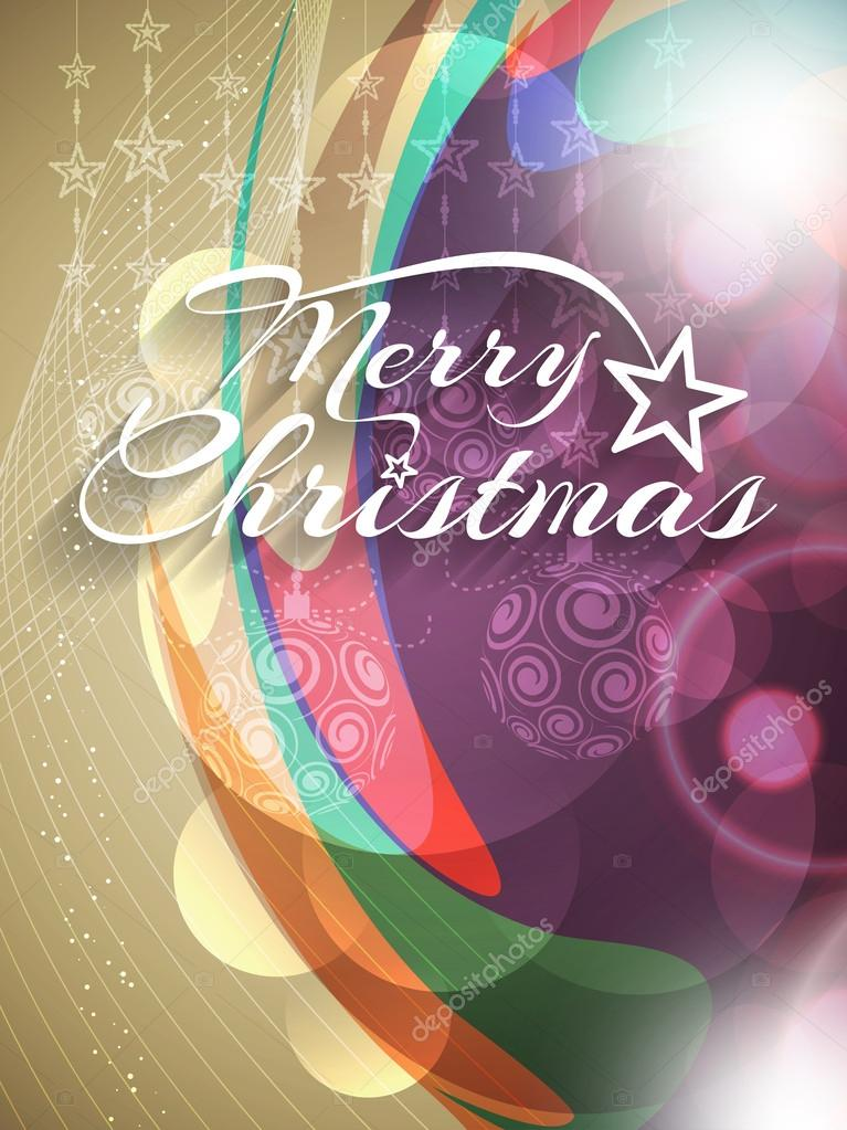 Glowing colorful Merry Christmas background design.