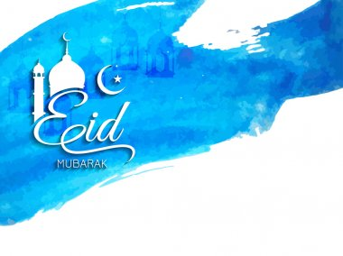 Beautiful Eid Mubarak background design in watercolor style.
