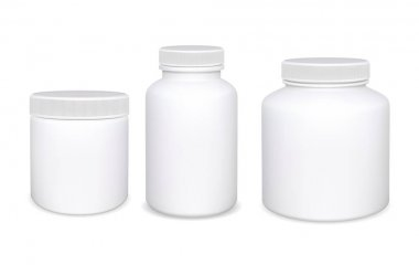 Plastic bottle isolated. White Supplement pill bottles. Medicine jar template without label. Medical or pharmaceutical containerwith cap for prescription tablet. Powder can mock up. Realistic round icon
