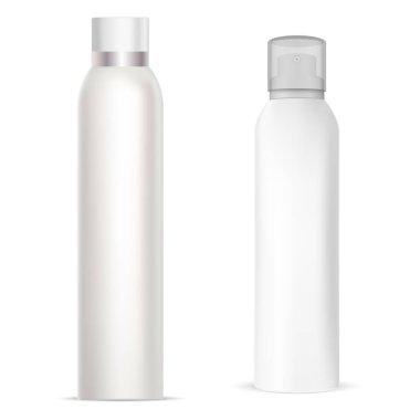 Aerosol spray can. Deodorant spray aluminum bottle. Freshener cylinder tube, metal realistic package. Paint air sprayer silver packaging. refresher odor pack, toilet spray mock up. Antiperspirant icon