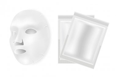 Facial mask sheet, vector beauty package mockup design. Face cosmetic collagen product isolated on white background. Clear foil pouch silver blank for cotton mask. Treatment sample wrapper icon