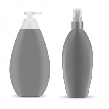 Cosmetic spray bottle mockup. Hair shampoo pump package, 3d plastic container with dispenser, vector blank. Body loion pack isolated. Hygiene detergent, face cream template. Bathroom care icon