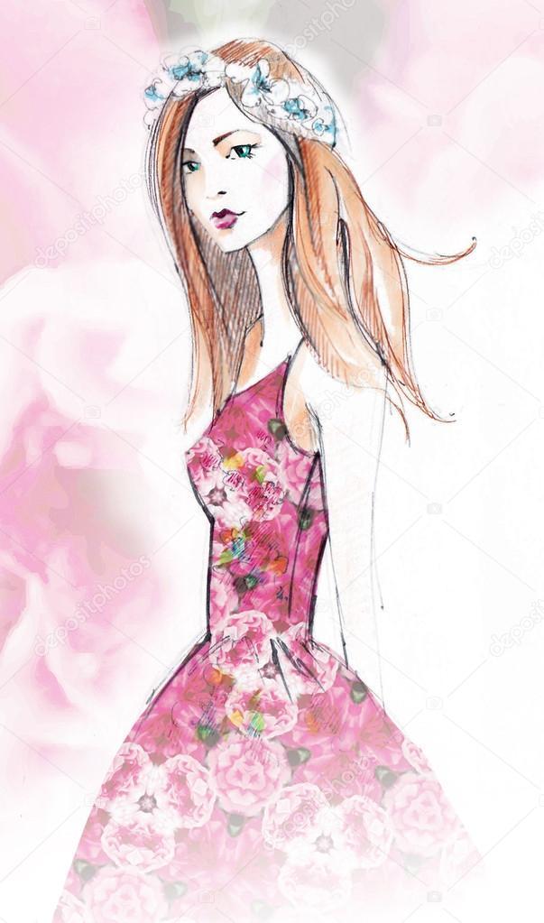 Sketch of young beautiful girl