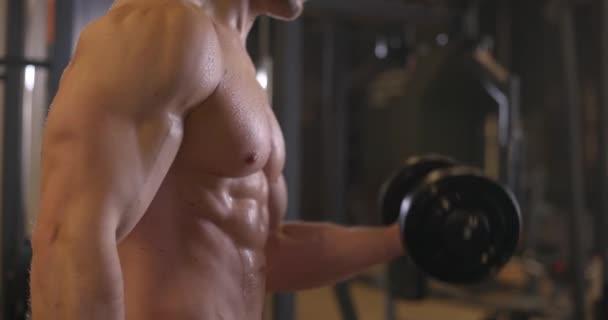 Sportovní mladík bez trička, který cvičí s činkou v tělocvičně. Pohlední muži pumpují biceps svaly. Zpomalený pohyb