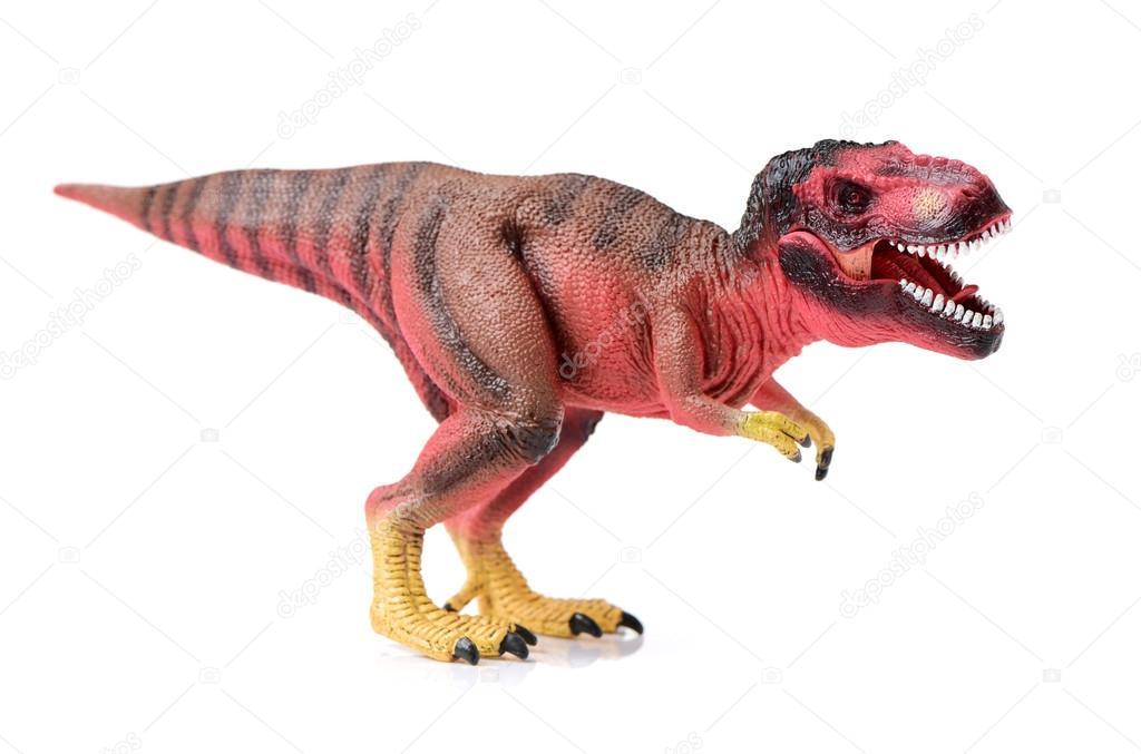 白地ティラノサウルス恐竜のおもちゃ ストック写真 Jianghongyan