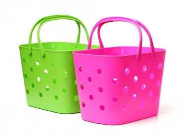 Green and pik plastic baskets